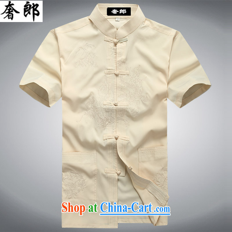 extravagance, 2015 middle-aged and older men Tang replace Kit T-shirt pants father replace middle-aged short-sleeved summer men's national costumes China wind manually for the morning exercise clothing beige Kit 190/56