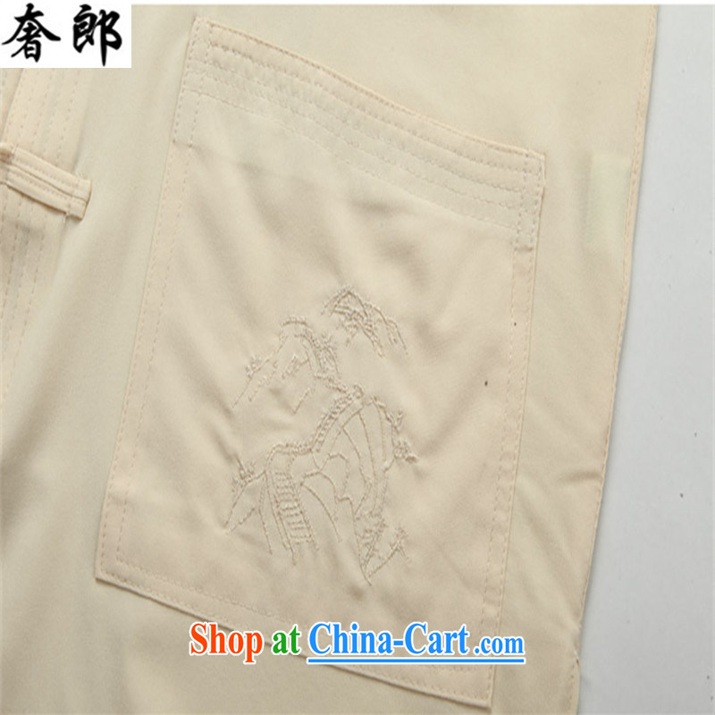 extravagance, 2015 middle-aged and older men Tang replace Kit T-shirt pants father replace middle-aged short-sleeved summer men's national costumes China wind manually for the morning exercise clothing beige Kit 190/56, extravagance, and shopping on the I