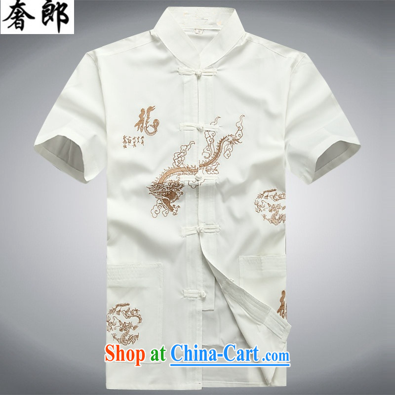 Luxury health 2015 new, middle-aged men and a short-sleeved men's summer short-load serving national costumes, for middle-aged Chinese men's T-shirt with short sleeves in summer morning workout clothing white Kit 190_56