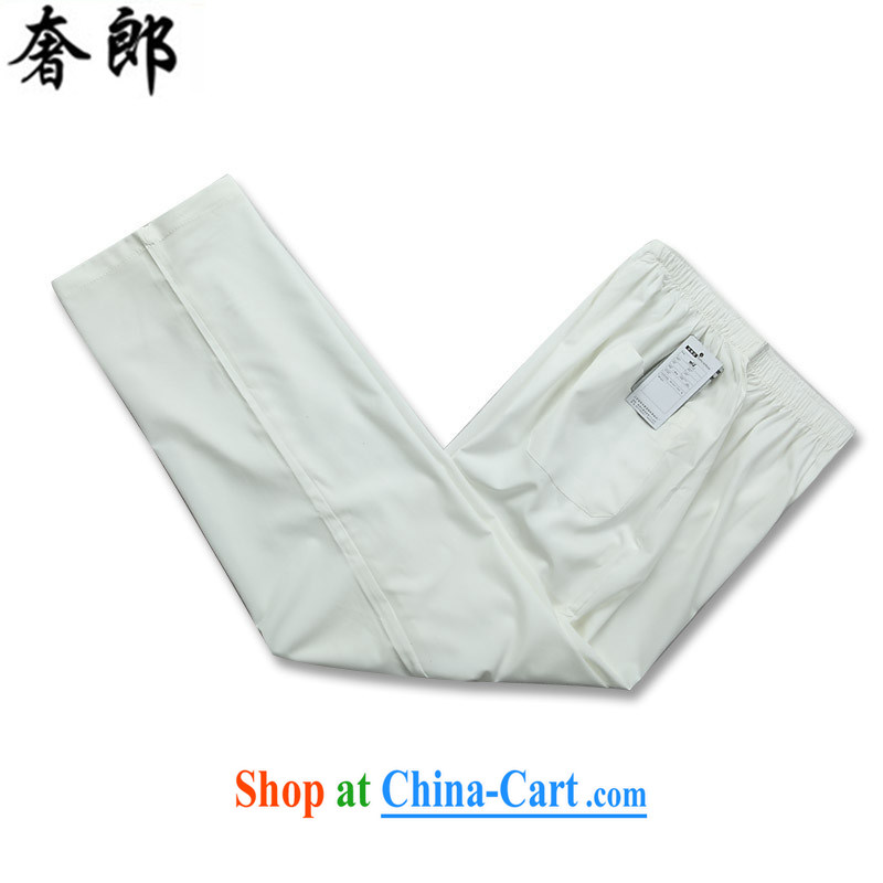 Luxury health 2015 original Chinese wind load of middle-aged men's short-sleeved, short for the summer men leisure Chinese national costume hand-tie morning exercise clothing white Kit 190/56, extravagance, and shopping on the Internet