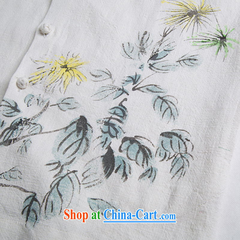 Internationally renowned Chinese men's leisure stamp duty and cotton mA short sleeved T-shirt Chinese Wind and summer linen T-shirt and light green 4 XL, internationally renowned (CHIYU), online shopping