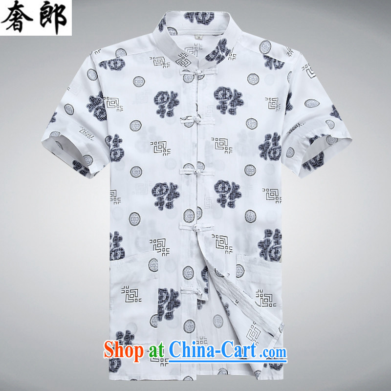 Luxury health 2015 men's middle-aged and older Chinese spring and summer short-sleeve, collar, new, middle-aged father China wind older persons with Mr Henry TANG Chinese men and morning exercise clothing white 190/56