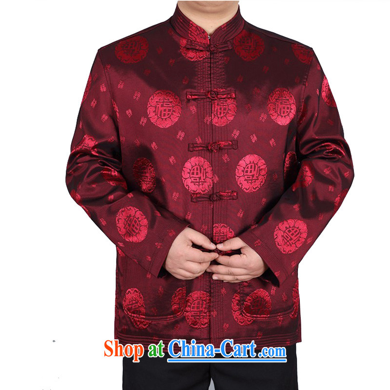 The chestnut mouse China wind spring new Chinese men and Chinese father jackets, older well field Tang red T-shirt XXXL, the chestnut mouse (JINLISHU), shopping on the Internet