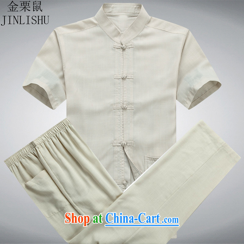 The poppy the mouse in the summer older male Tang replace short-sleeved T-shirt men's Chinese national costume Chinese Kit beige Kit XXXL
