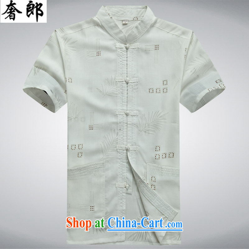 extravagance, 2015 middle-aged men with short summer short-sleeved, for middle-aged and older units the Commission and indeed intensify China wind summer wear T-shirt with his father's birthday with Tai Chi uniform white 190_56