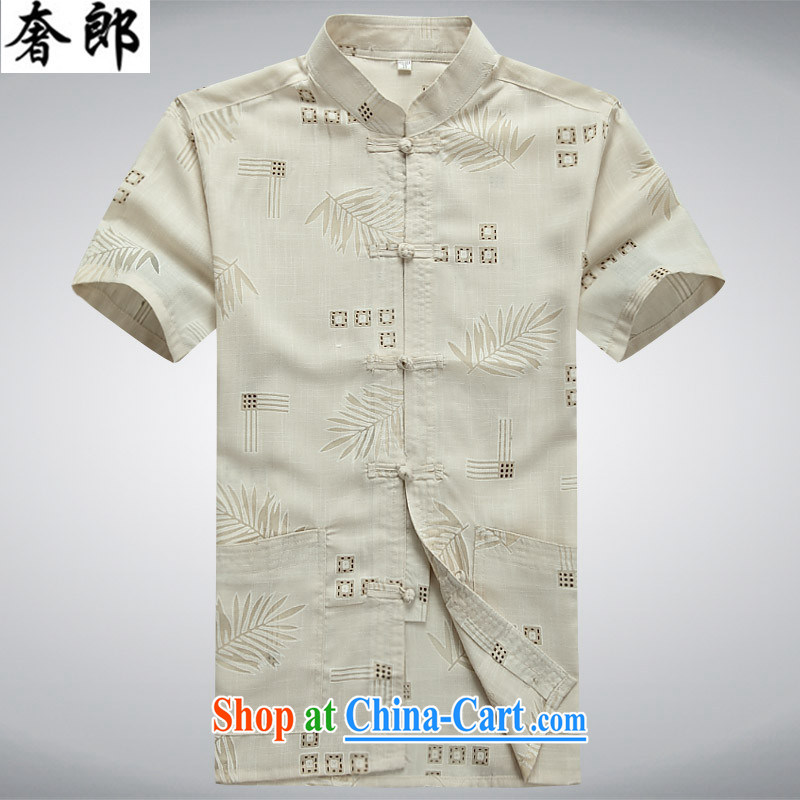 Luxury health 2015 new, middle-aged and older Chinese summer short sleeved T-shirt middle-aged men Tang replace manually the buckle clothing and Dad loaded cotton the male elderly clothing beige 190_56