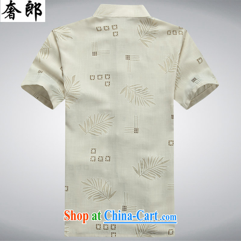 Luxury health 2015 new, middle-aged and older Chinese summer short-sleeved shirt middle-aged men Tang is manually engaged the father clothes with cotton the male elderly clothing beige 190/56, extravagance, and shopping on the Internet