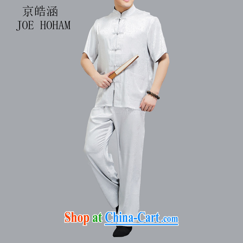 kyung-ho in older Chinese short-sleeve men's national casual shirt summer father Kit light gray 4 XL