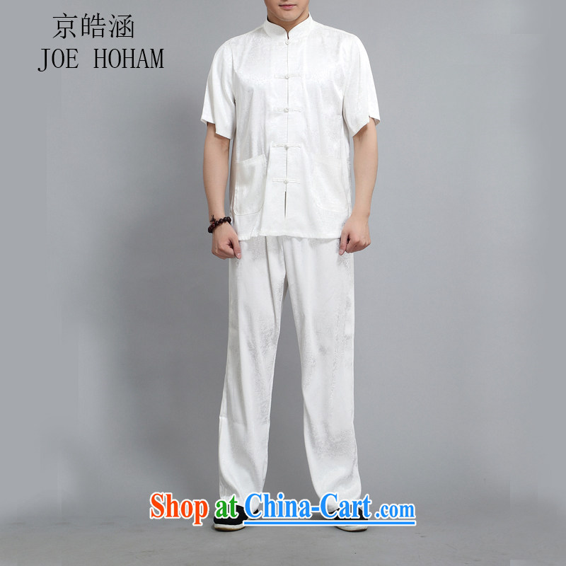 kyung-ho covered by Chinese men and a short-sleeved, older men's summer men Tang load package short-sleeve cynosure serving national costumes white 4XL