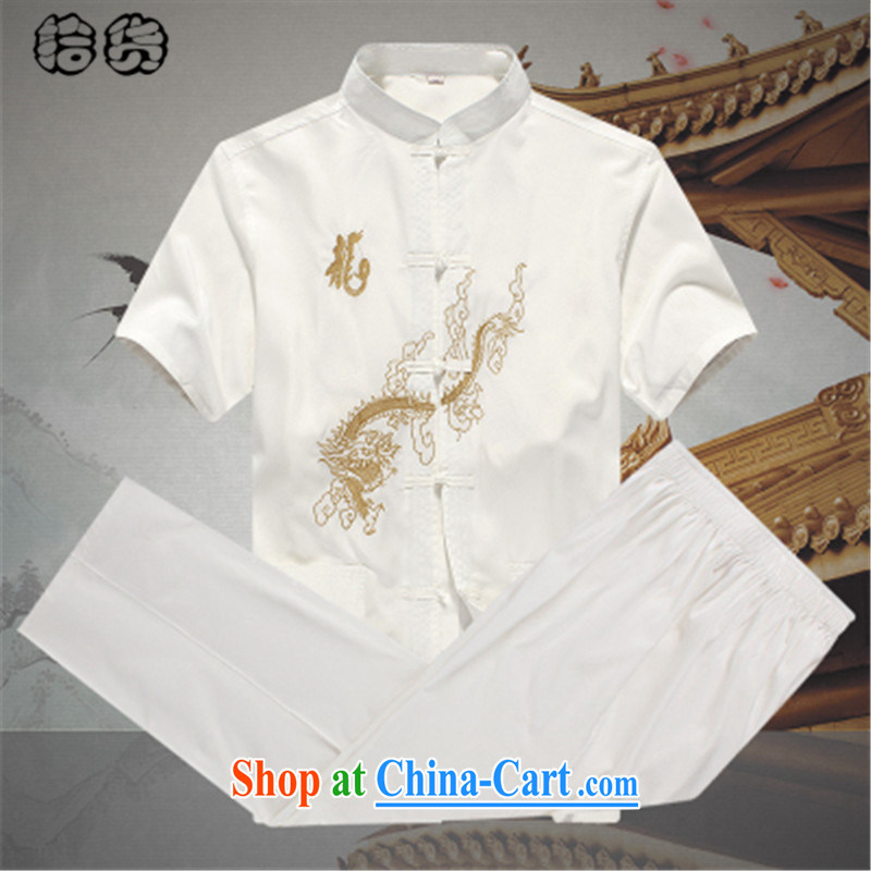 Pick up the 2015 summer, male Tang load package summer short-sleeved older people in his father's old load short-sleeve T-shirt pants set Grandpa male Tang with white - B, 180