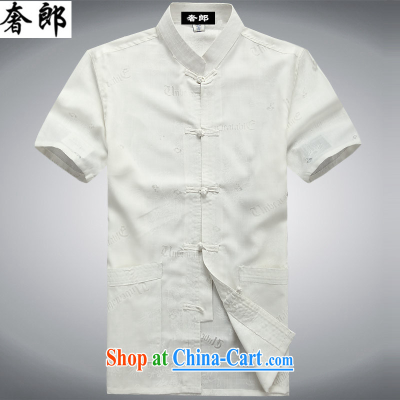 Luxury health 2015 new summer middle-aged men with Tang China wind, served short-sleeved shirts, collar shirt Dad loaded middle-aged and older persons exercise clothing T shirts and white 190/56