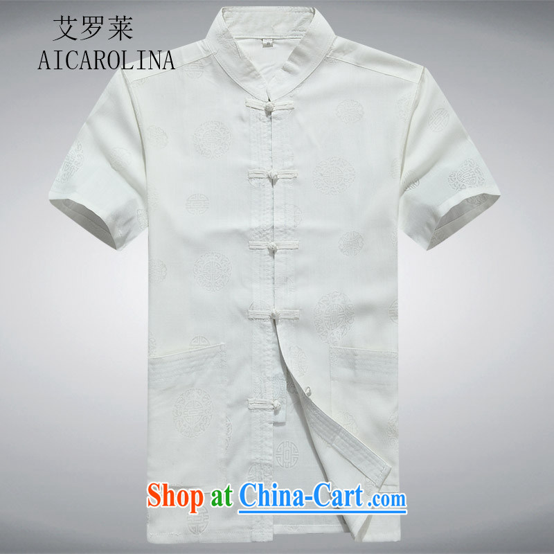 The Carolina boys men in summer older leisure, for Chinese men's cotton linen thin XL half sleeve T-shirts white XXXL