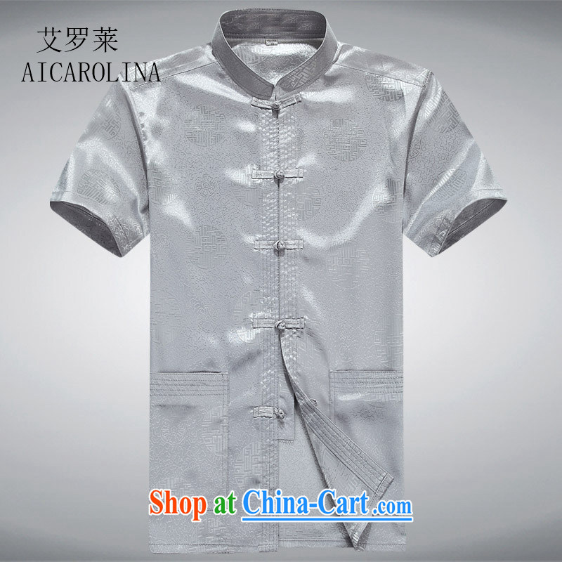 The summer, new Chinese men's T-shirt with short sleeves and older persons, served Chinese style men's short-sleeved shirt gray L