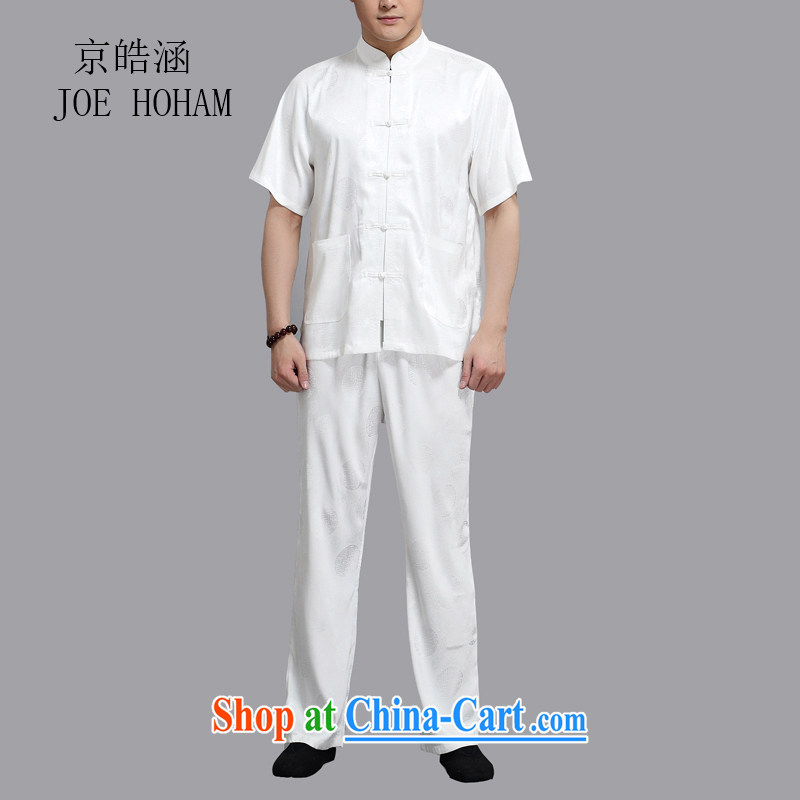 kyung-ho covered by men with short set short-sleeved older persons in men's T-shirt Dad Grandpa pants summer jackets T-shirt white 4XL