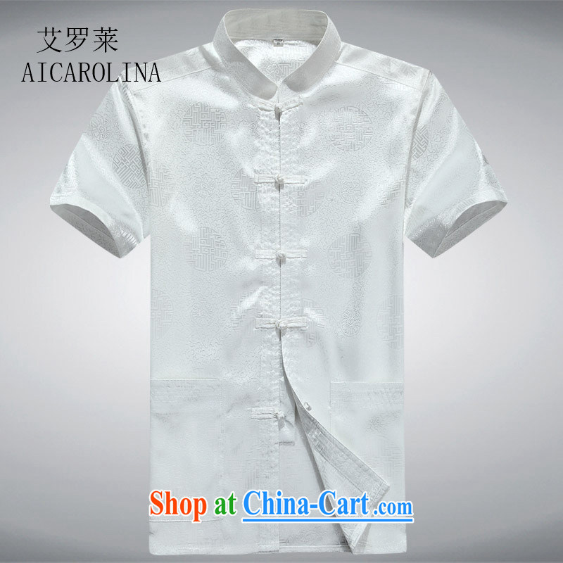 The middle-aged, men's short-sleeved Chinese China wind middle-aged men's short-sleeved Chinese T-shirt white XXXL