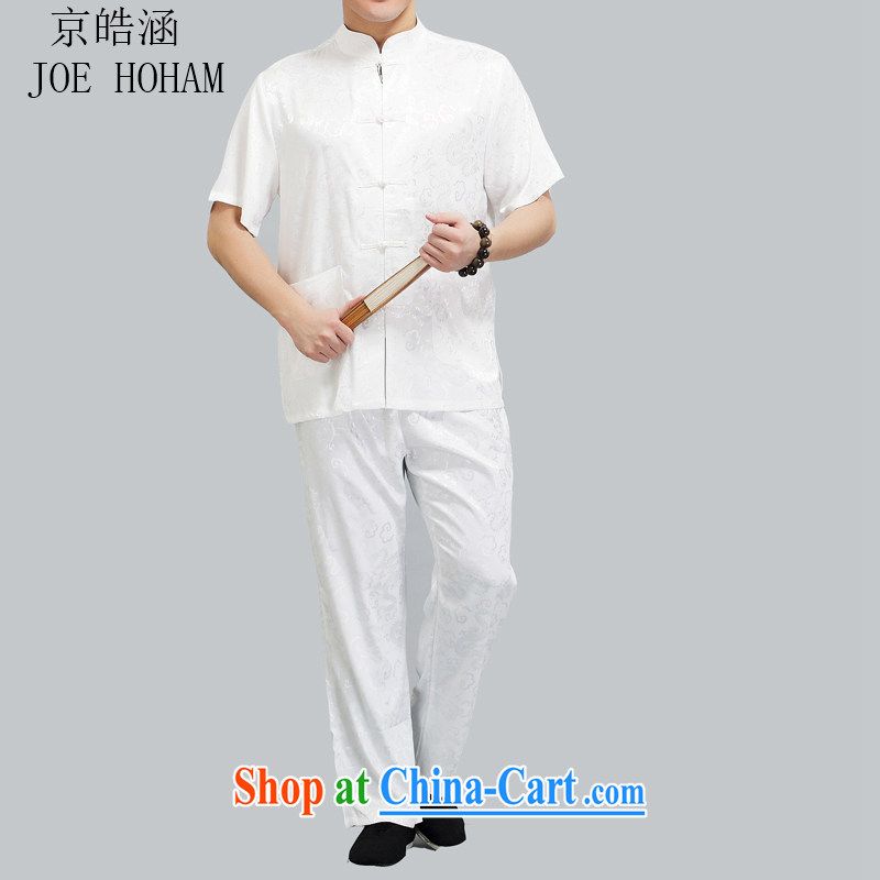 kyung-ho summer covered by new Chinese men short-sleeved T-shirt men and older persons in exercise clothing Kit China wind men's short-sleeved white 4XL
