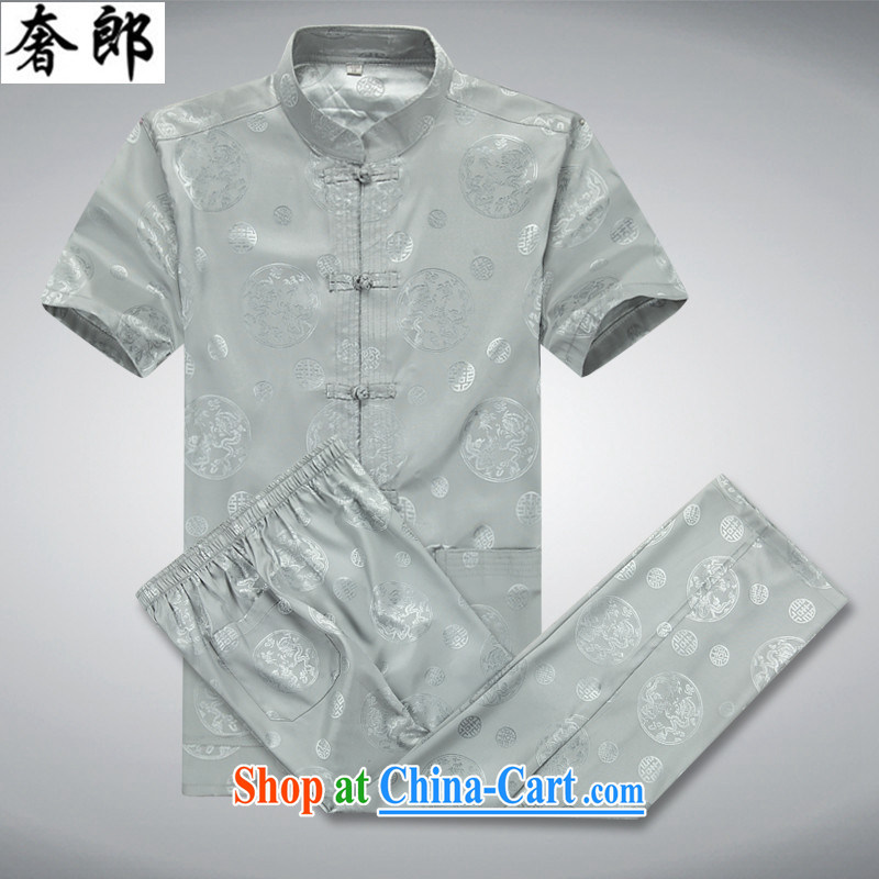 Luxury health 2015 new national dress summer men Tang load package short-sleeved middle-aged and older persons is silk men's T-shirt Dad Grandpa summer manual tray clip light gray Kit 165_46