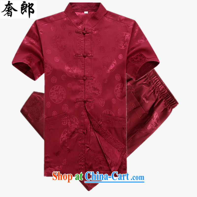 Luxury health 2015 new middle-aged men with short T-shirt summer new middle-aged and older half sleeves T-shirt men and Chinese short-sleeved, for Han-Chinese male Red Kit 190 _ 56