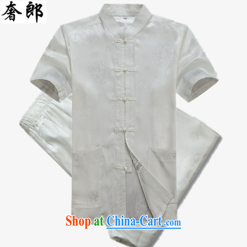 extravagance, 2015 Chinese men's short-sleeve Chinese leisure middle-aged men Chinese men's Summer for the National Men's Silk short-sleeved hand-tie China wind Han-white Kit 190 _ 56