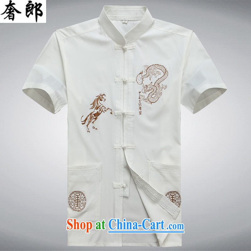 Luxury health 2015 summer new, older Chinese short-sleeve T shirts men's T-shirt older Tai Chi clothing leisure jogging Tang replacing manual tray snaps, served white 190/56