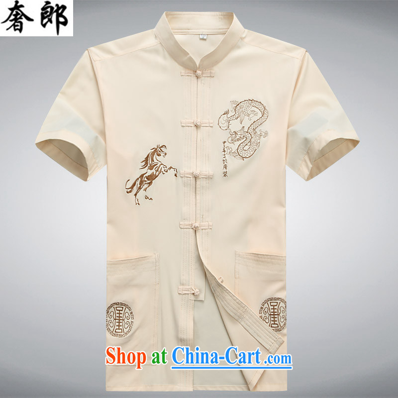 extravagance, new, middle-aged men's short-sleeved, collared T-shirt Chinese Tai Chi uniforms summer half sleeve China wind national 2015 Han-improved Chinese Tai Chi uniform beige 190_56