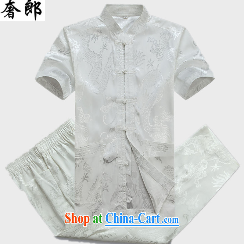Luxury health 2015 new Chinese men and a short-sleeved summer men's Chinese short-sleeve and collar Kit T-shirt, old Han-Chinese wind morning exercises Tai Chi uniform white Kit 170 _ 48