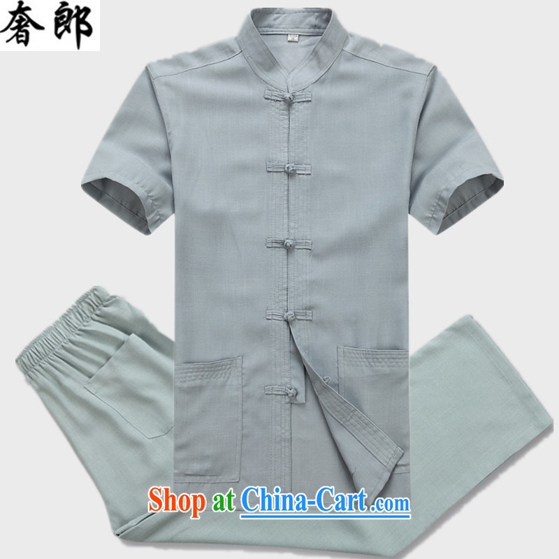 Luxury health 2015 New Men's Chinese package short-sleeved older people in men's father summer China wind, served the buckle clothing elderly grandparents summer light gray suit 190_56
