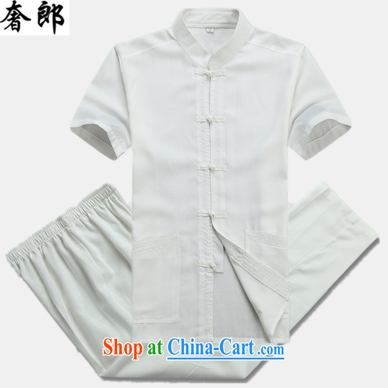 Luxury health 2015, older men Chinese Tang replace summer short-sleeved shirts, collar linen shirt Dad loaded Chinese manual tray snap shirt large code Grandpa summer white Kit 190 _ 56