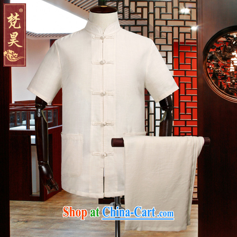 Van Gogh's solid-colored linen Chinese men and short-sleeve kit, older shirt cotton the Chinese-tie Han-TDM 507 yellow XL