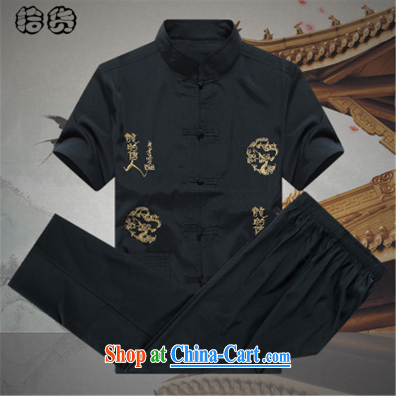 The dessertspoon, summer 2015, older men detained the national dress China wind emulation sauna silk kit, for improved leisure short-sleeved Tang replace the code father loaded A - Black 185