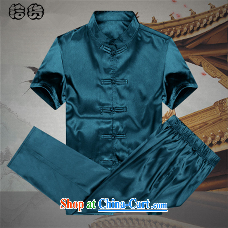 The dessertspoon, summer 2015, older men Chinese men and Mr Ronald ARCULLI short-sleeved Chinese Wind and Han-grandfather set the silk large, older persons summer Male Blue 190