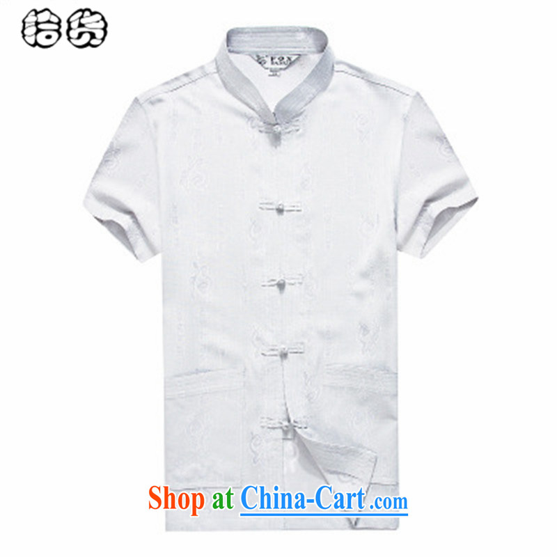 The dessertspoon, summer 2015, middle-aged and older Chinese men's summer new short-sleeved middle-aged large, loose shirt linen multi-pocket father with summer white 185