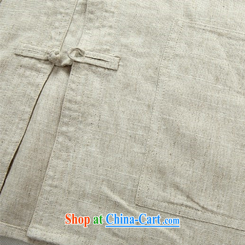 The poppy in the older Chinese spring and summer New Men's long-sleeved Kit comfortable father replace Tang on the national uniform beige Kit XXXL, the chestnut mouse (JINLISHU), shopping on the Internet