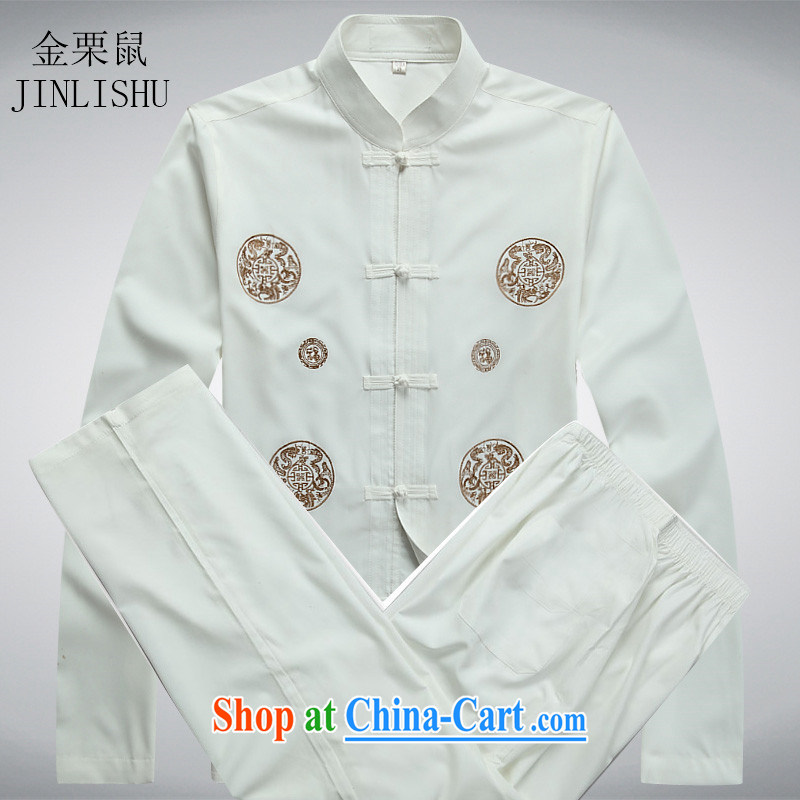 The chestnut Mouse middle-aged and older Chinese long-sleeved Kit spring new Chinese, for the charge-back the code embroidery older persons in Chinese White package XXXL
