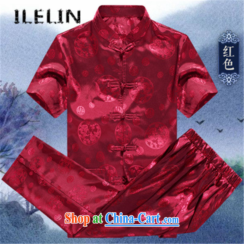 ILELIN summer 2015 Chinese men and a short-sleeved summer men's loose the code Chinese short sleeve T-shirt with the old Han-Chinese wind morning Tai Chi demonstration kit red 190