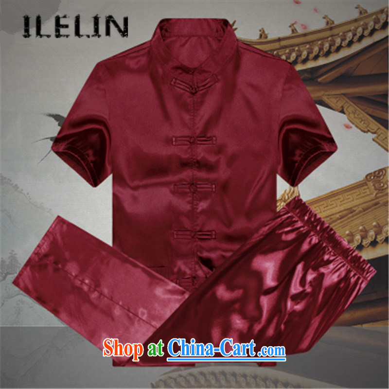 ILELIN 2015 Mr Ronald ARCULLI, men's short sleeve fitted with short-sleeved older persons in men's loose the code father T-shirt pants grandfather summer jackets T-shirt red 190