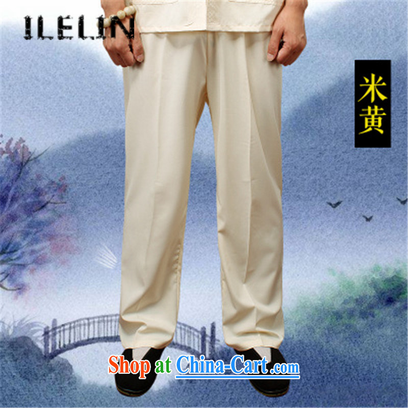 ILELIN summer 2015, men's trousers China wind male Chinese loose the code pants Chinese summer comfort and breathability men's trousers and simple, served Cornhusk yellow XXXXL