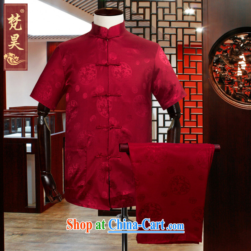 Van Gogh's new hand-held Chinese men and short-sleeve kit, Old Silk shirt short-sleeved the code father replace TDS 302 red 3XL