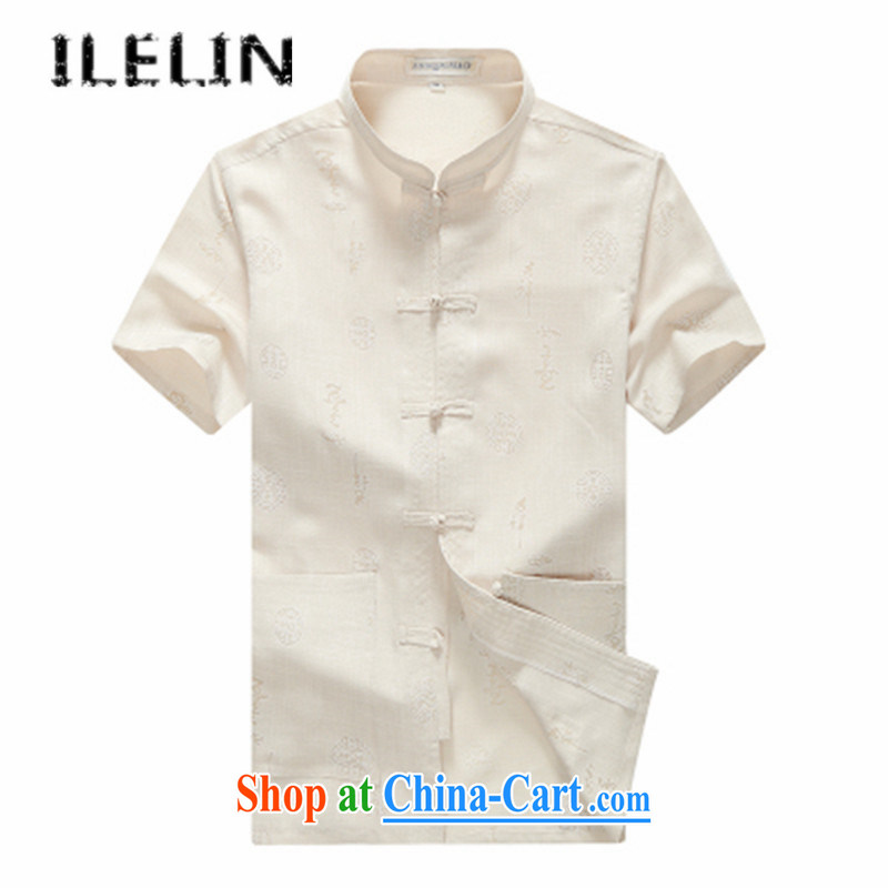 ILELIN 2015 Mr Ronald ARCULLI, older men Chinese men's summer short-sleeved Chinese Wind and Han-code the grandfather with linen older persons summer male yellow 185