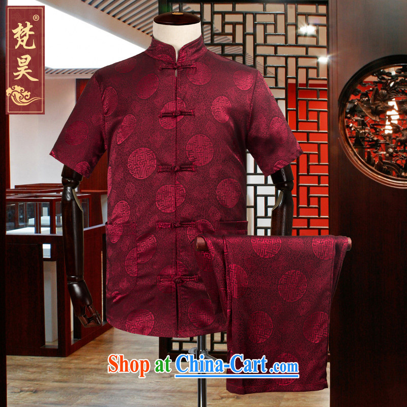 Van Gogh's annual birthday congratulations Chinese short-sleeved Kit men, older Chinese silk short-sleeved, served the code shirt TDS 503 red 2 XL