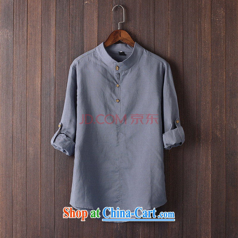 Extreme first summer 2015 men's Chinese shirt China wind culture T-shirt long-sleeved shirts arm cuff linen shirt loose shirt gray XXL
