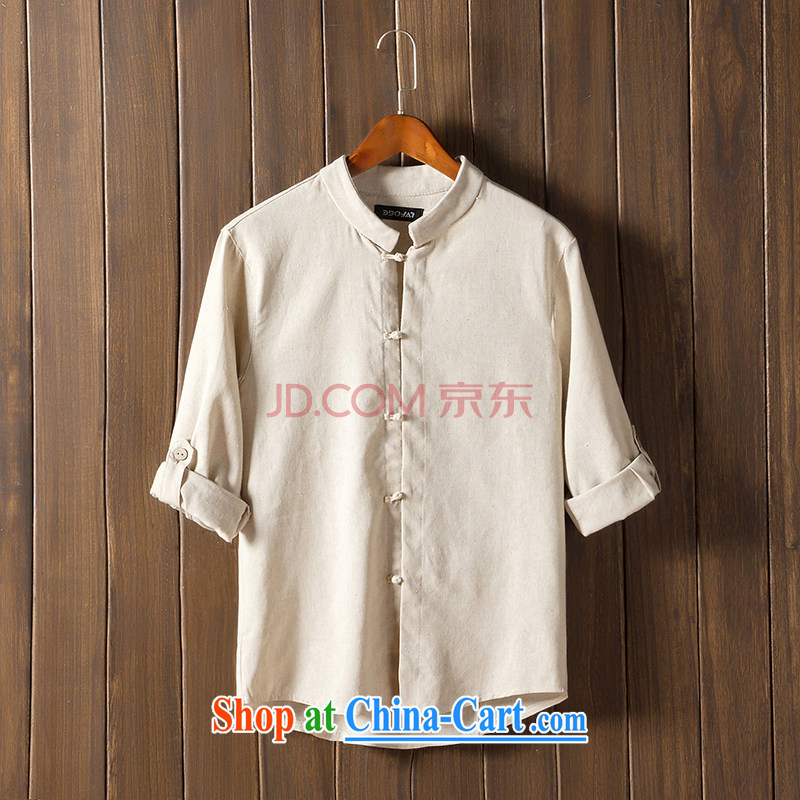 Happy Ka, summer 2015 men's Chinese shirt China wind culture T-shirt 7 sub-sleeved shirts cuff in linen and the fat, T-shirt beige 4 XL