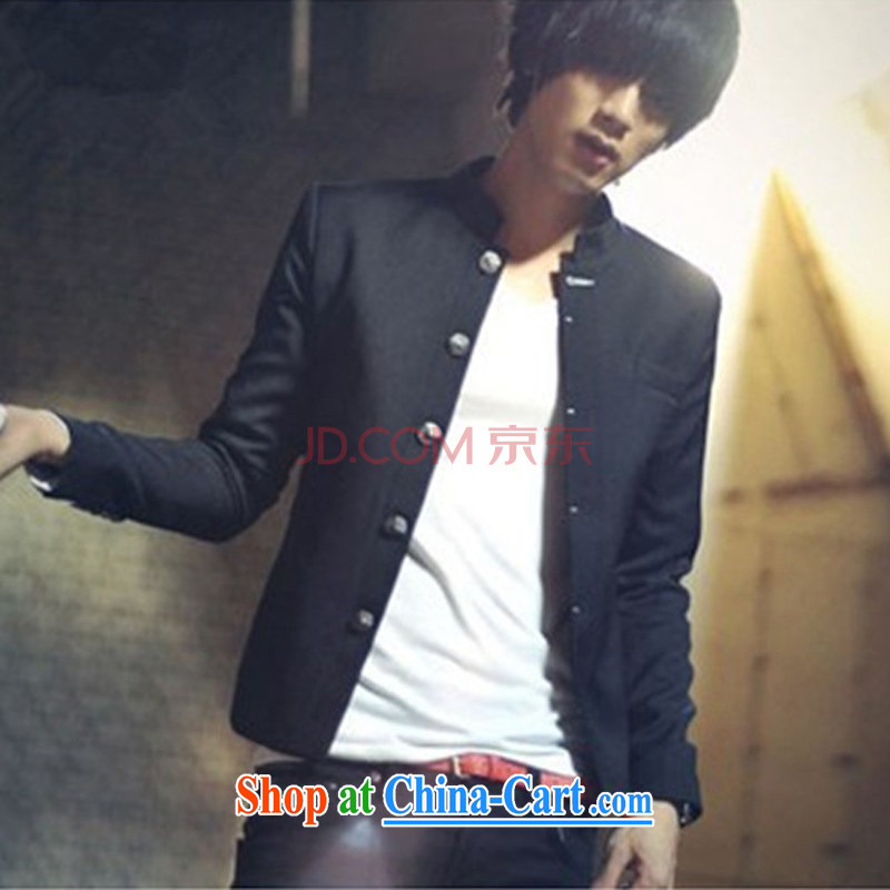 M 2M 2015 spring new male beauty smock Korean small jacket men's black suit black thick, M (170)