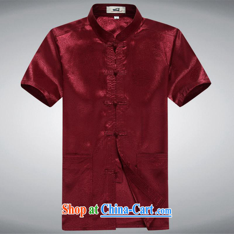 100 brigade BaiLv summer stylish thin, for comfortable short-sleeved-tie Casual Shirt deep red 185