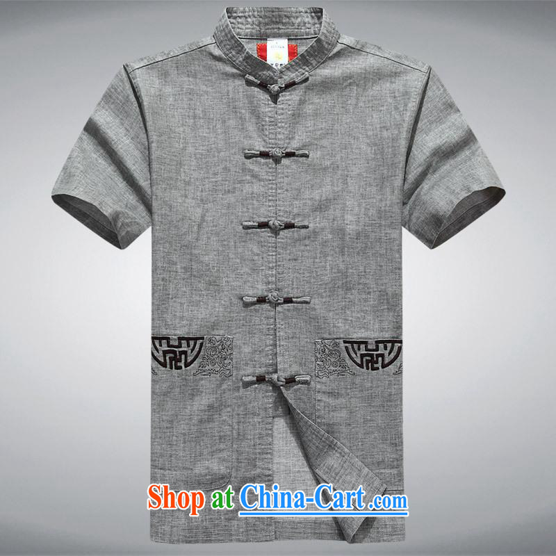 100 brigade Bailv summer stylish lapel suit comfortable cultivating short-sleeved men's shirts T gray XXL