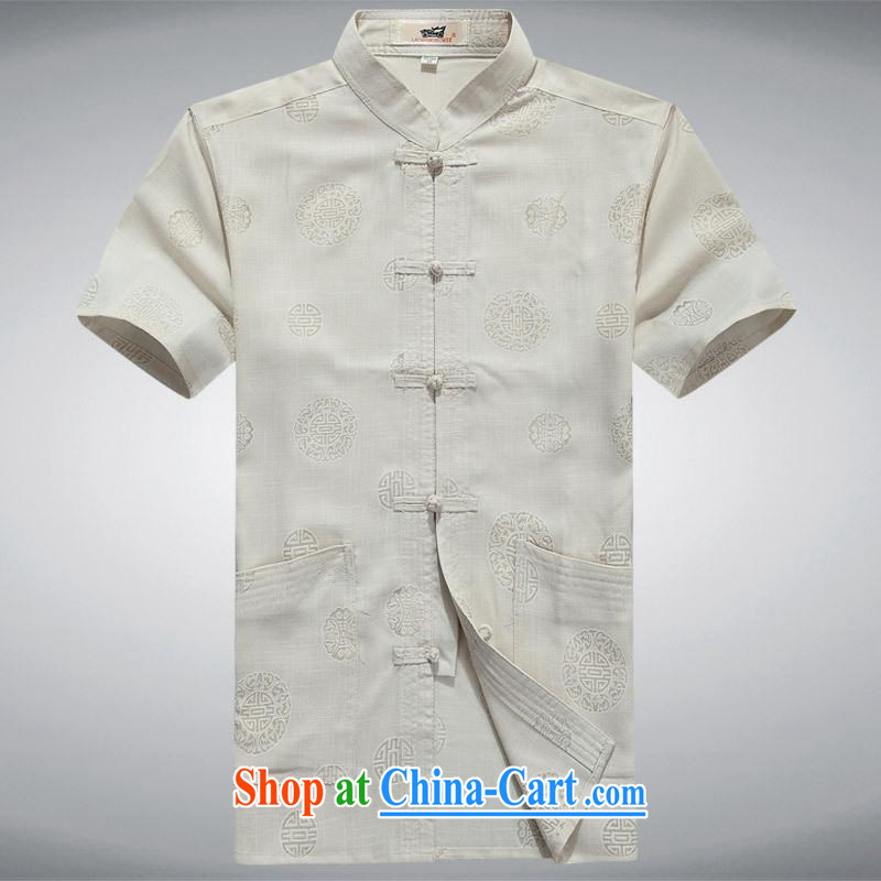 100 brigade BaiLv summer stylish thin, for comfortable short-sleeved-tie Casual Shirt light yellow 180