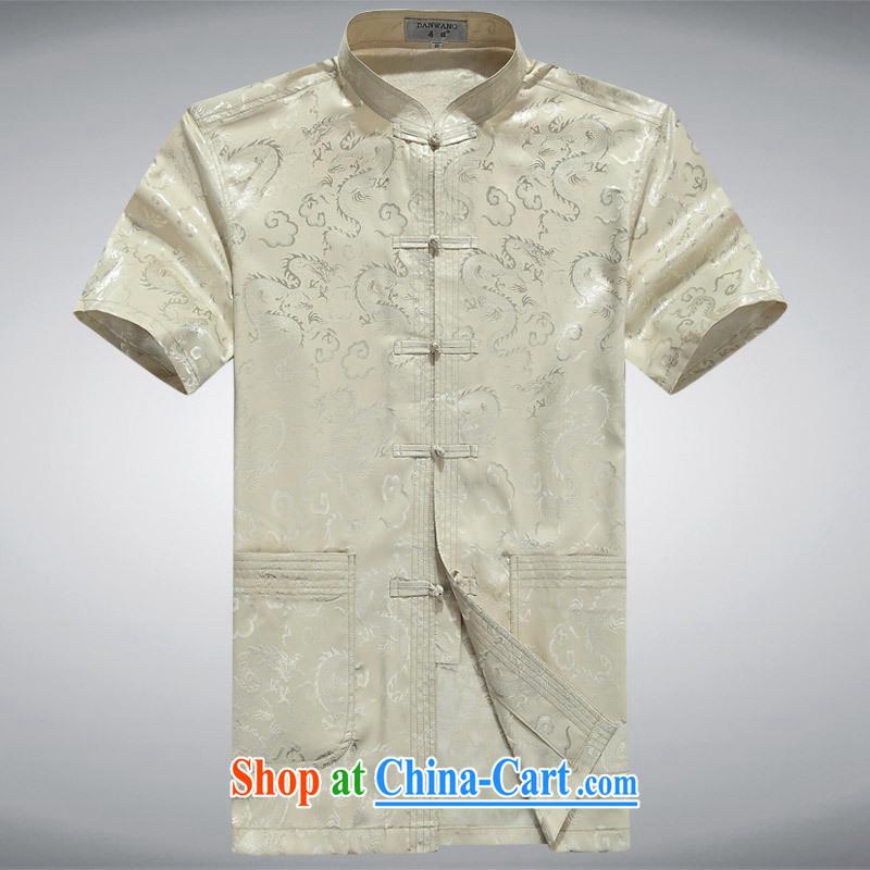 100 brigade BaiLv summer stylish thin, for comfortable short-sleeved-tie Casual Shirt light yellow 165