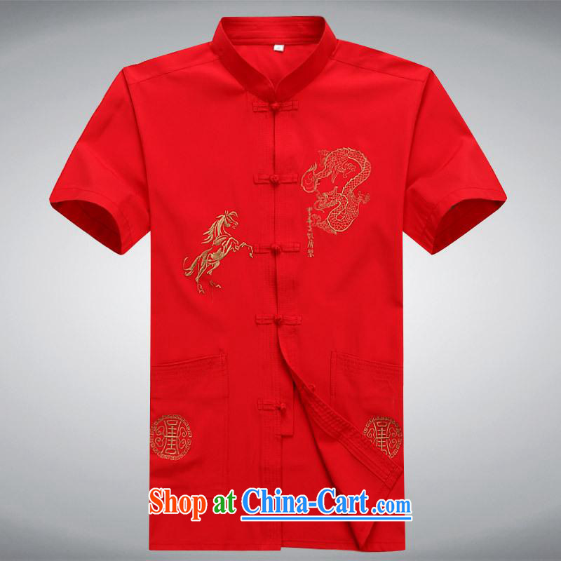 100 brigade BaiLv summer stylish thin, for comfortable short-sleeved-buckle Casual Shirt red M
