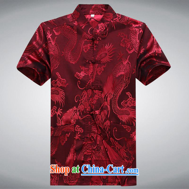 100 brigade BaiLv summer stylish thin, for comfortable short-sleeve-snap Leisure package deep red XXXL