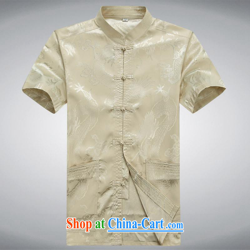 100 brigade BaiLv summer stylish thin, for comfortable short-sleeve-snap Leisure package light yellow XXL